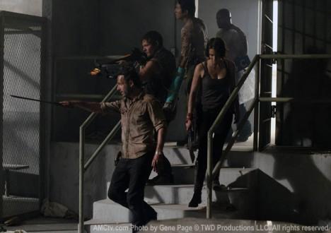 Rick Grimes (Andrew Lincoln), Daryl Dixon (Norman Reedus), Maggie Greene (Lauren Cohan), Glenn Rhee (Steven Yeun) and T-Dog (IronE Singleton) in Episode 1 of The Walking Dead