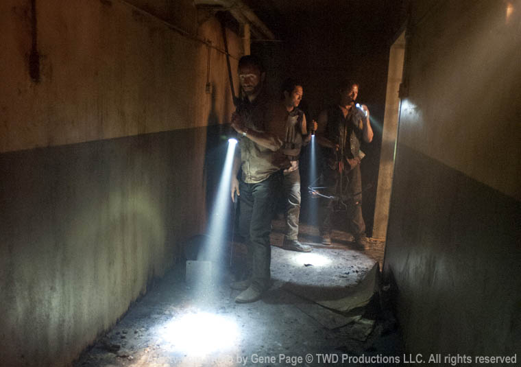 Rick Grimes (Andrew Lincoln), Glenn Rhee (Steven Yeun) and Daryl Dixon (Norman Reedus) in Episode 1 of The Walking Dead