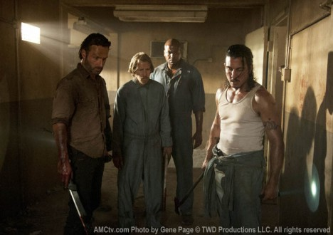 Rick Grimes (Andrew Lincoln), Axel (Lew Temple), Oscar (Vincent Ward) and Tomas (Nick Gomez) in Episode 2 of The Walking Dead