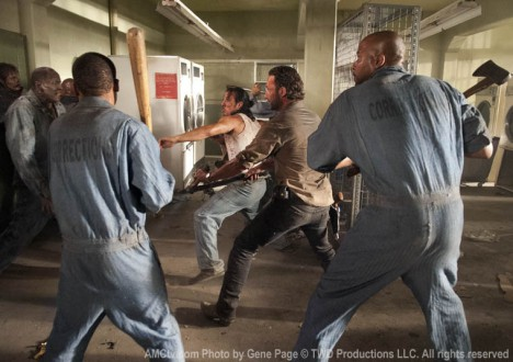 Andrew (Markice Moore), Oscar (Vincent Ward), Rick Grimes (Andrew Lincoln) and Tomas (Nick Gomez) in Episode 2 of The Walking Dead