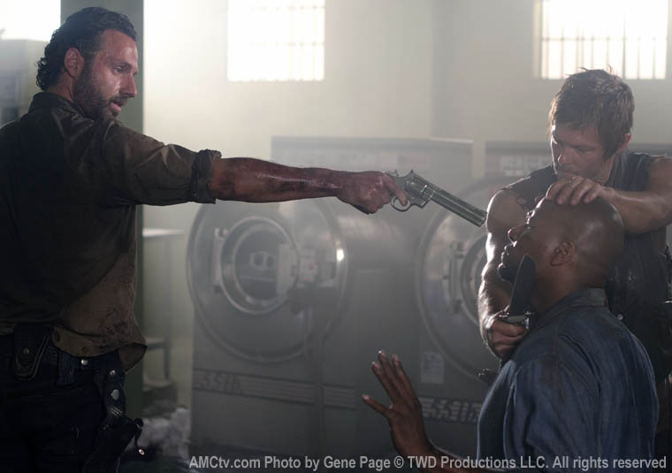 Rick Grimes (Andrew Lincoln), Oscar (Vincent Ward) and Daryl Dixon (Norman Reedus) in Episode 2 of The Walking Dead