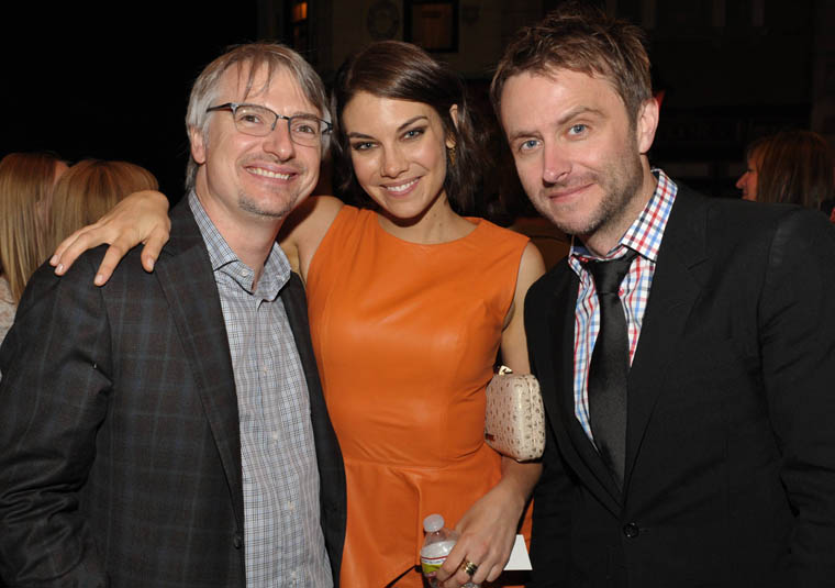 Glen Mazzara (Executive Producer and Show Runner), Lauren Cohan (Maggie Greene) and Talking Dead host Chris Hardwick at the Season 3 Premiere Party