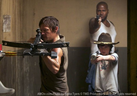 Daryl Dixon (Norman Reedus), Oscar (Vincent Ward) and Carl Grimes (Chandler Riggs) in Episode 6 of The Walking Dead