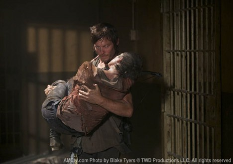 Daryl Dixon (Norman Reedus) and Carol Peletier (Melissa McBride) in Episode 6 of The Walking Dead