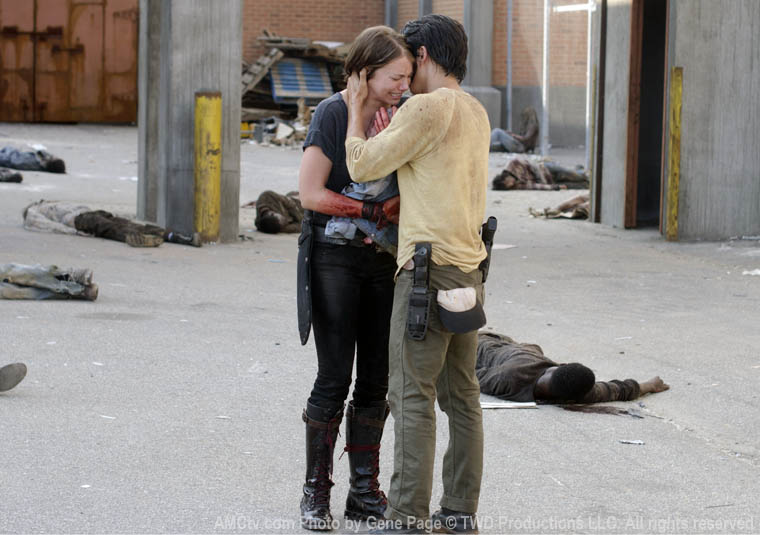 Maggie Greene (Lauren Cohan) and Glenn Rhee (Steven Yeun) in Episode 4 of The Walking Dead