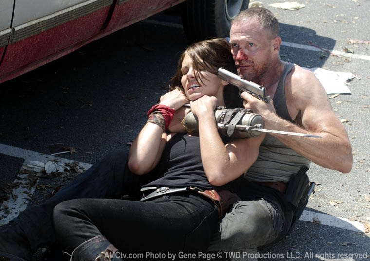 Magge Greene (Lauren Cohan) and Merle Dixon (Michael Rooker) in Episode 6 of The Walking Dead
