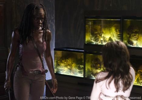 Michonne (Danai Gurira) and Penny (Kylie Ann Szymanski) in Episode 8 of The Walking Dead