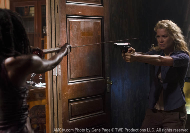 Michonne (Danai Gurira) and Andrea (Laurie Holden) in Episode 8 of The Walking Dead