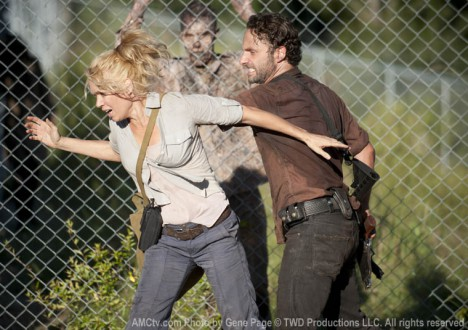 Andrea (Laurie Holden) and Rick Grimes (Andrew Lincoln) in Episode 11 of The Walking Dead