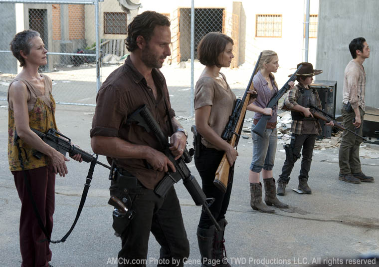 Carol Peletier (Melissa McBride), Rick Grimes (Andrew Lincoln), Maggie Greene (Lauren Cohan), Beth Greene (Emily Kinney), Carl Grimes (Chandler Riggs) and Glenn Rhee (Steven Yeun) in Episode 11 of The Walking Dead