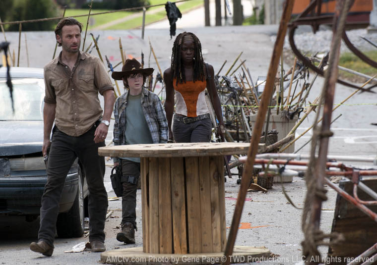 Rick Grimes (Andrew Lincoln), Carl Grimes (Chandler Riggs) and Michonne (Danai Gurira) in Episode 12 of The Walking Dead
