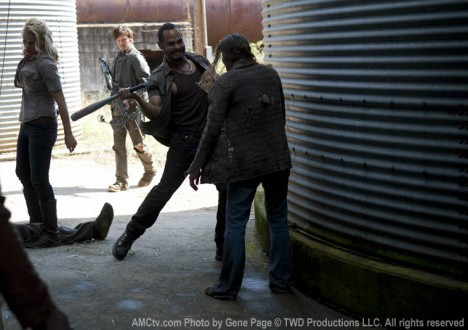 Andrea (Laurie Holden), Daryl Dixon (Norman Reedus) and Martinez (Jose Pablo Cantillo) of The Walking Dead