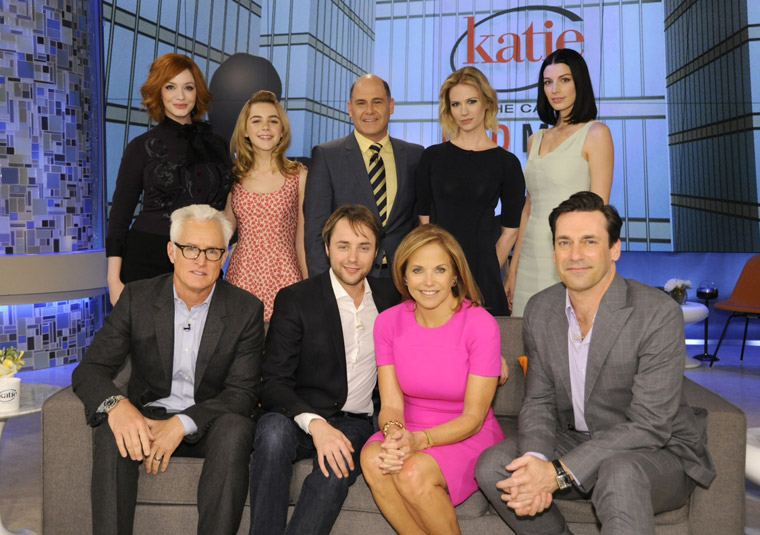 Top Row: Christina Hendricks, Kiernan Shipka, Matthew Weiner, January Jones, Jessica Paré Bottom Row: John Slattery, Vincent Kartheiser, Katie Couric, Jon Hamm