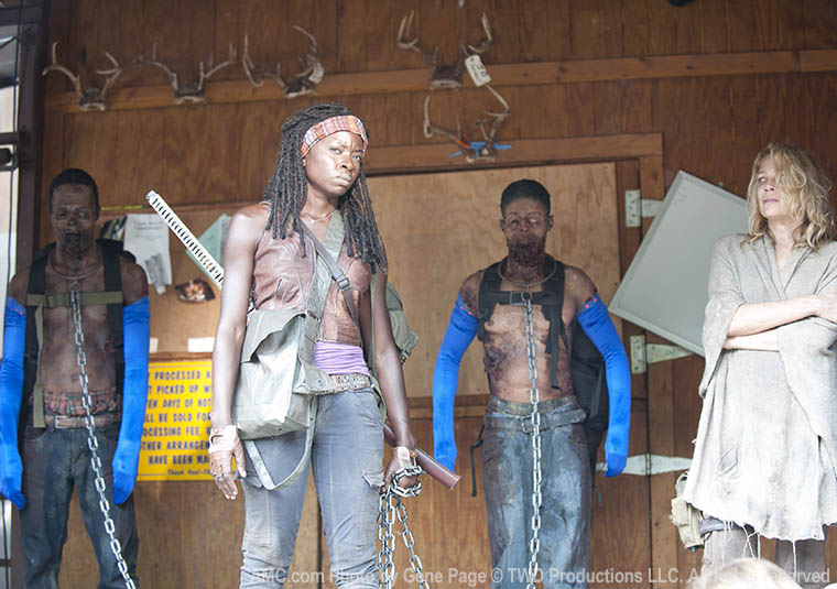 Danai Gurira (Michonne) and Laurie Holden (Andrea) in Episode 1 of The Walking Dead