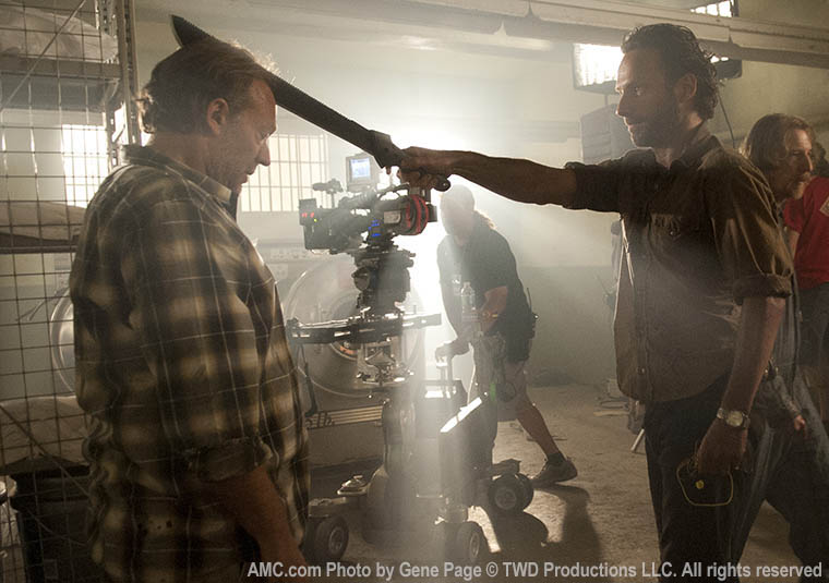 Greg Nicotero (Co-Executive Producer) and Andrew Lincoln (Rick Grimes) in Episode 2 of The Walking Dead