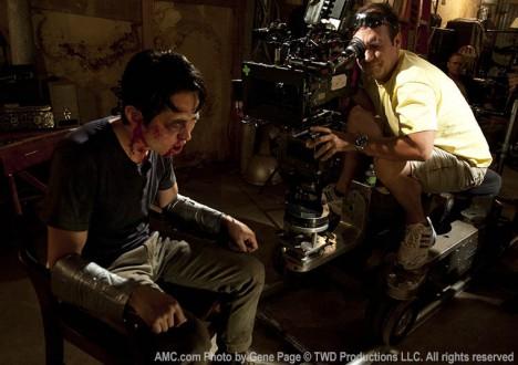 Steven Yeun (Glenn Rhee) and Mike Satrazemis (Camera Operator) in Episode 7 of The Walking Dead