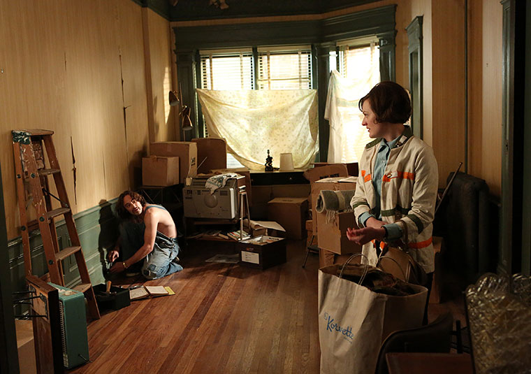 Abe Drexler (Charlie Hofheimer) and Peggy Olson (Elisabeth Moss) in Mad Men
