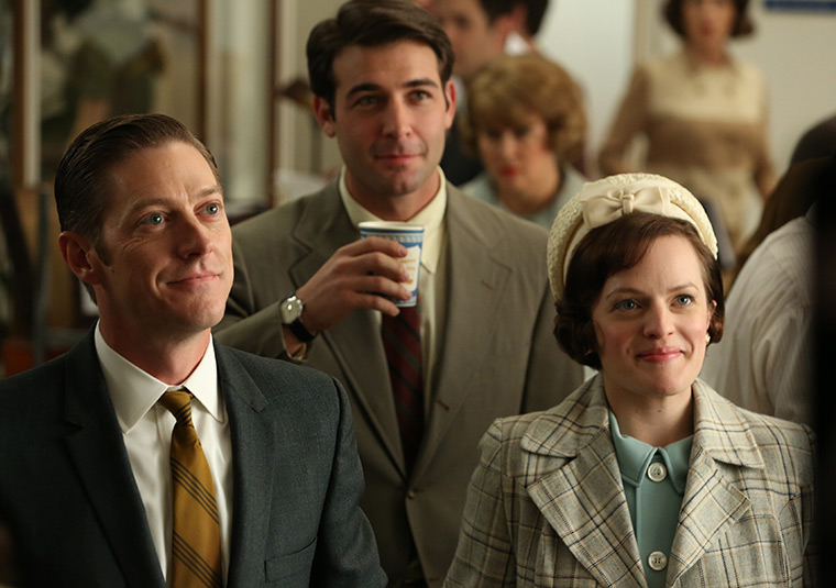 Ted Chaough (Kevin Rahm), Bob Benson (James Wolk) and Peggy Olson (Elisabeth Moss) in Mad Men