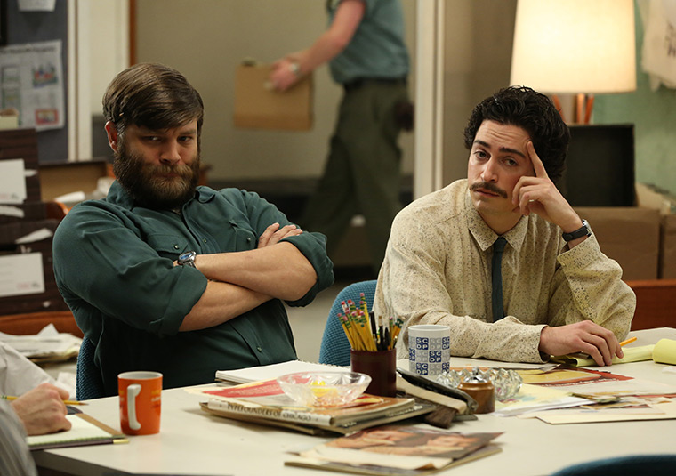 Stan Rizzo (Jay R. Ferguson) and Michael Ginsberg (Ben Feldman) of Mad Men
