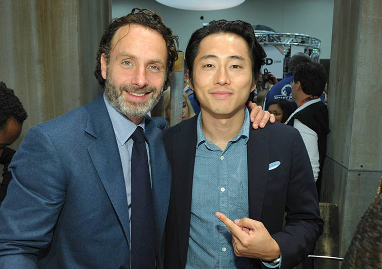 Andrew Lincoln (Rick Grimes) and Steven Yeun (Glenn Rhee) of The Walking Dead