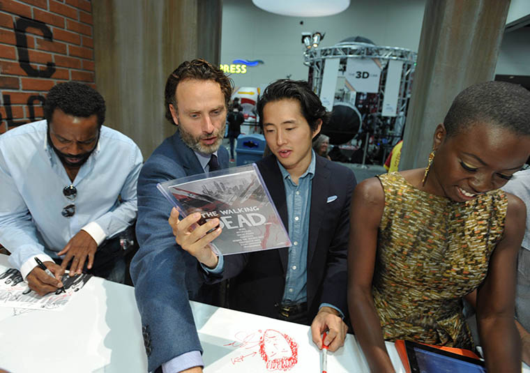 Chad L. Coleman (Tyreese), Andrew Linoln (Rick Grimes), Steven Yeun (Chad L. Coleman) and Danai Gurira (Michonne) of The Walking Dead