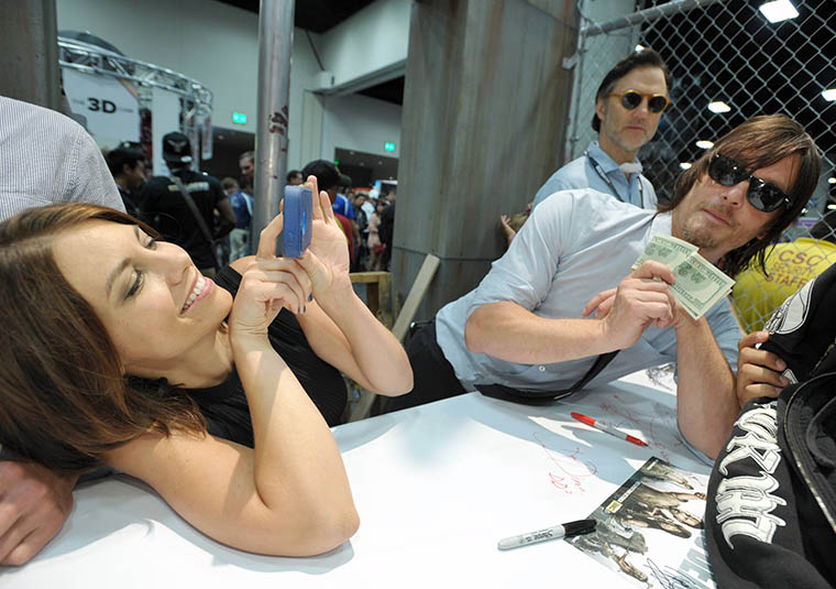 Lauren Cohan (Maggie Greene), Norman Reedus (Daryl Dixon) and David Morrissey (The Governor) of The Walking Dead