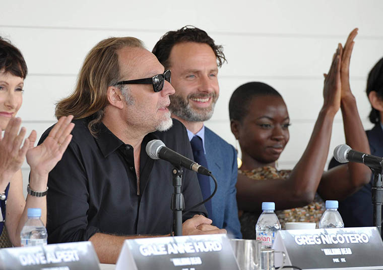 Gale Anne Hurd (Executive Producer), Greg Nicotero (Executive Producer, Special FX Makeup Designer), Andrew Lincoln (Rick Grimes) and Danai Gurira (Michonne) of The Walking Dead
