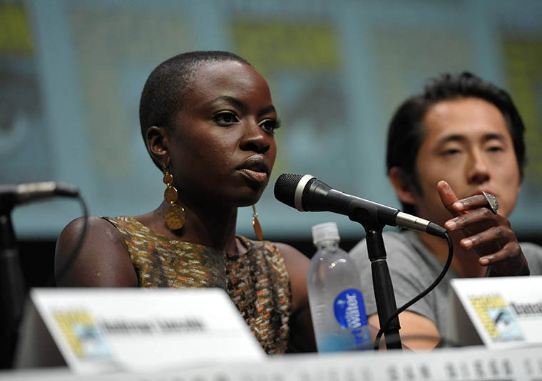 Danai Gurira (Michonne) and Steven Yeun (Glenn Rhee) of The Walking Dead