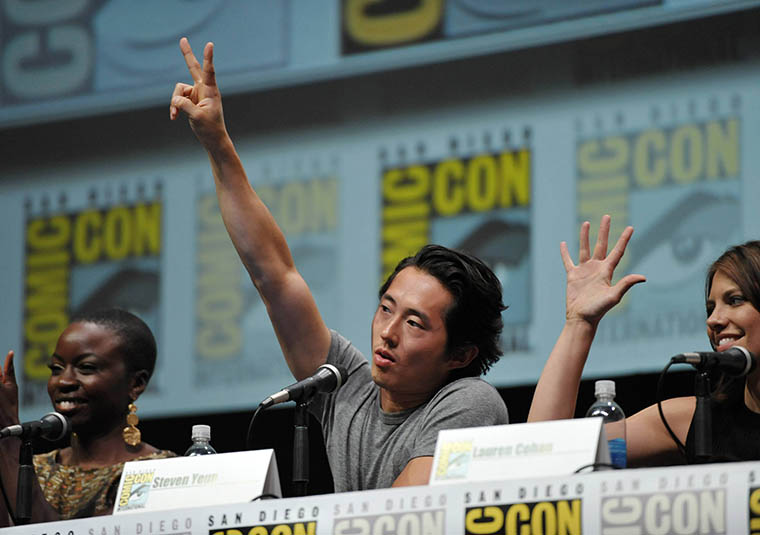 Danai Gurira (Michonne), Steven Yeun (Glenn Rhee) and Lauren Cohan (Maggie Greene) of The Walking Dead