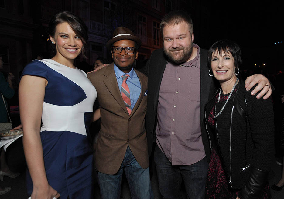Lauren Cohan (Maggie Greene), Lawrence Gilliard Jr. (Bob Stookey), Robert Kirkman (Executive Producer, Writer) and Gale Anne Hurd (Executive Producer) at The Walking Dead Season 4 Premiere Party