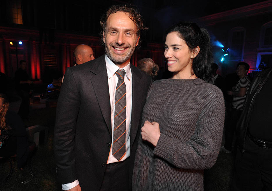 Andrew Lincoln (Rick Grimes) and Sarah Silverman at The Walking Dead Season 4 Premiere Party