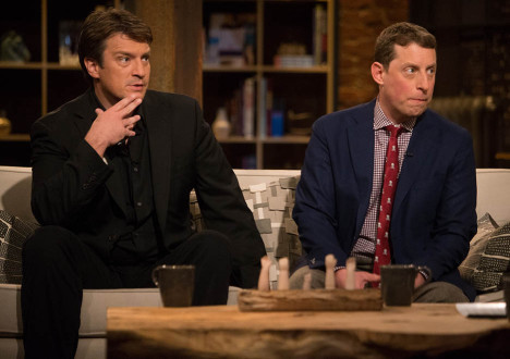 Nathan Fillion and Scott M. Gimple (The Walking Dead Executive Producer, Writer) in Episode 1 of The Talking Dead