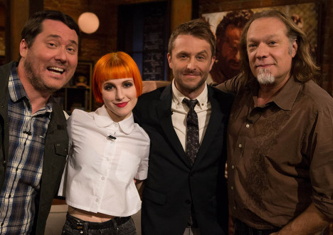 Doug Benson, Hayley Williams, Chris Hardwick and Greg Nicotero (The Walking Dead Executive Producer, Special FX Makeup Designer) in Episode 2 of The Talking Dead