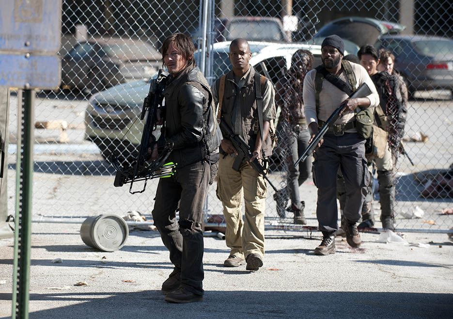Daryl Dixon (Norman Reedus), Bob Stookey (Lawrence Gilliard Jr.), Tyreese (Chad L. Coleman), Glenn Rhee (Steven Yeun), Zach (Kyle Gallner) and Michonne (Danai Gurira) in Episode 1 of The Walking Dead