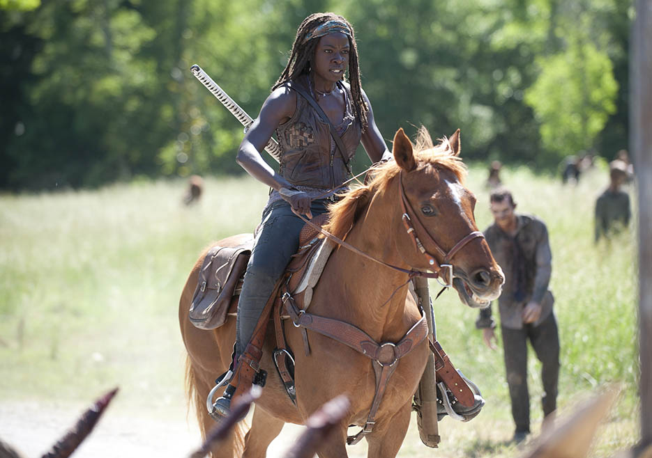 Michonne on her horse The Walking Dead