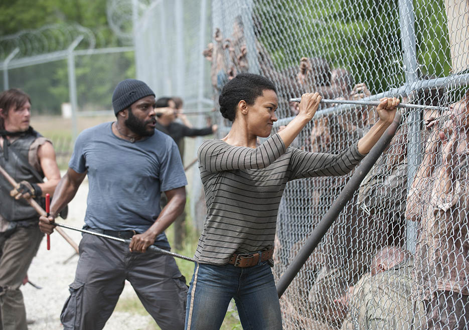Daryl Dixon (Norman Reedus), Tyreese (Chad L. Coleman) and Sasha (Sonequa Martin-Green) in Episode 2 of The Walking Dead