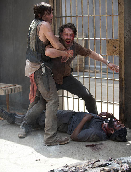 Daryl Dixon (Norman Reedus), Rick Grimes (Andrew Lincoln) and Tyreese (Chad L. Coleman) in Episode 3