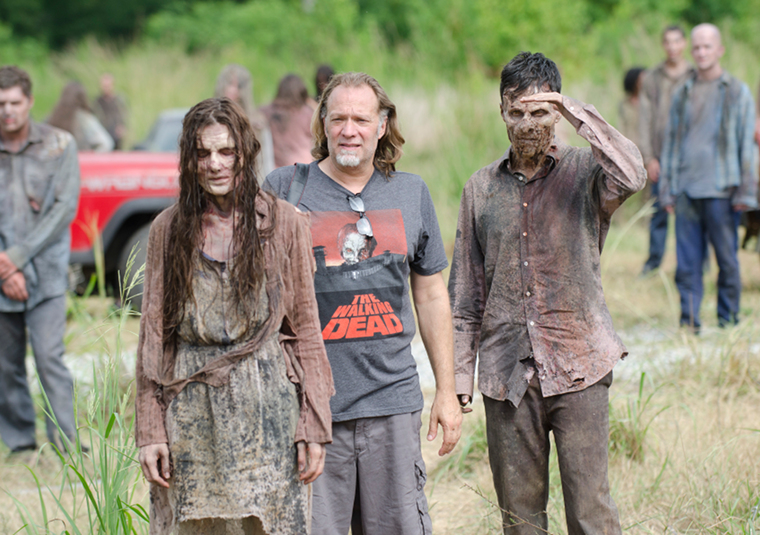 Greg Nicotero (Executive Producer, Special FX Makeup Designer) and walkers in Episode 8 of The Walking Dead