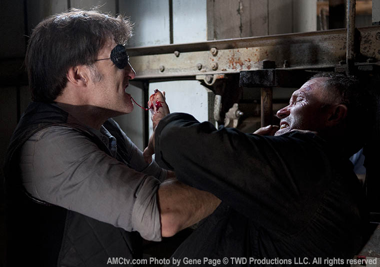 The Governor (David Morrissey) and Merle Dixon (Michael Rooker) in Episode 15 of The Walking Dead