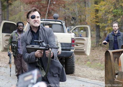 Shumpert (Travis Love), the Governor (David Morrissey) and Allen (Daniel Thomas May) in Episode 16 of The Walking Dead