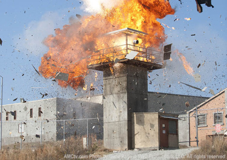 The prison in Episode 16 of The Walking Dead