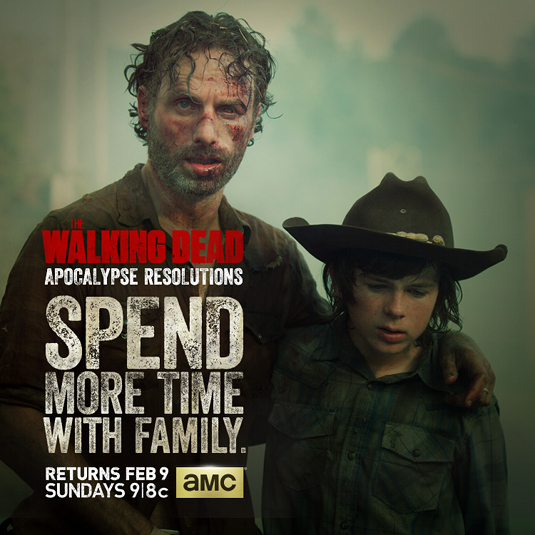 Rick Grimes (Andrew Lincoln) and Carl Grimes (Chandler Riggs) in The Walking Dead