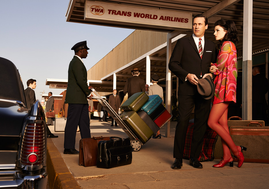 Don Draper (Jon Hamm) and Megan Draper (Jessica Paré) of Mad Men