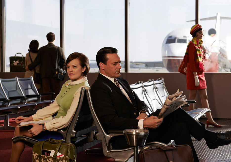 Peggy Olson (Elisabeth Moss) and Don Draper (Jon Hamm) of Mad Men