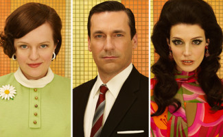 Peggy Olson (Elisabeth Moss), Don Draper (Jon Hamm) and Megan Draper (Jessica Pare) of Mad Men