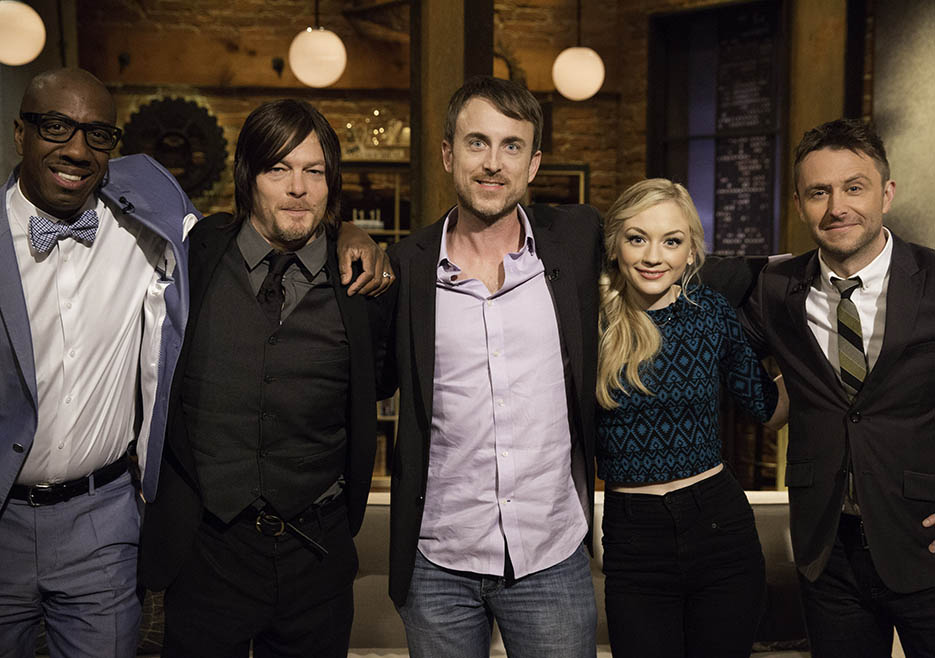 JB Smoove, Norman Reedus (Daryl Dixon), Julius Ramsay (The Walking Dead Season 4 Episode 12 Director), Emily Kinney (Beth Greene) and Chris Hardwick in Episode 12