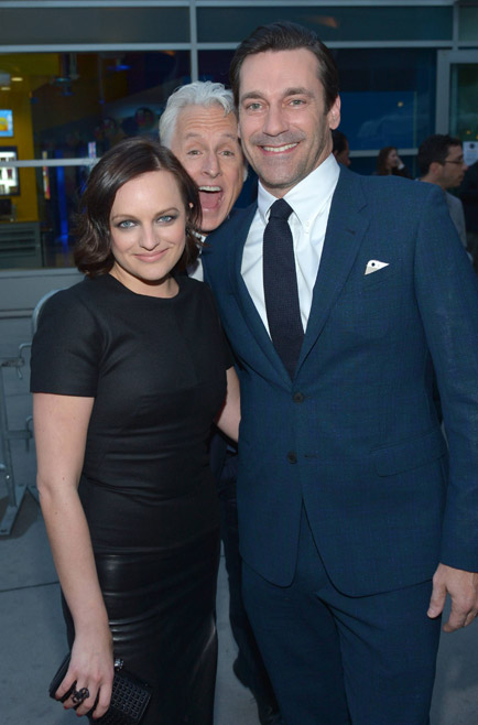 Elisabeth Moss (Peggy Olson), John Slattery (Roger Sterling) and Jon Hamm (Don Draper) of Mad Men