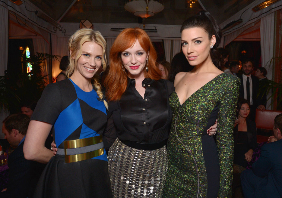 January Jones (Betty Francis), Christina Hendricks (Joan Harris), Jessica Paré (Megan Draper) of Mad Men