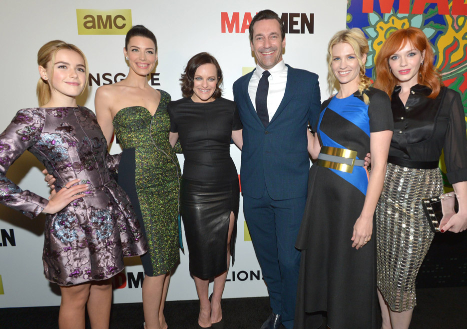 Kiernan Shipka (Sally Draper), Jessica Paré (Megan Draper), Elisabeth Moss (Peggy Olson), Jon Hamm (Don Draper), January Jones (Betty Francis), Christina Hendricks (Joan Harris) from Mad Men