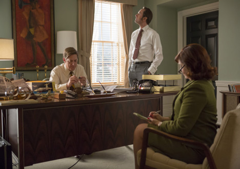 Ted Chaough (Kevin Rahm), Pete Campbell (Vincent Kartheiser) and Dee (Kiva Jump) in Mad Men